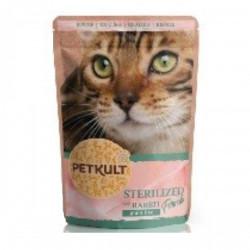 Hrana umeda pentru pisici Petkult Sterilised cu iepure 100 g