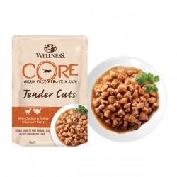 Hrana umeda pentru pisici Wellness Core Tender Cuts cu pui si curcan in sos 85 g
