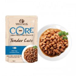 Hrana umeda pentru pisici Wellness Core Tender Cuts cu ton in sos 85 g