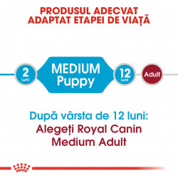 Hrana uscata caini ROYAL CANIN Medium Puppy produs adaptat etapei de viata