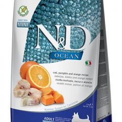 N&D Dog Mini Ocean cu cod, dovleac și portocală 2.5 kg