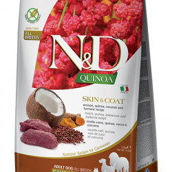 N&D Quinoa Dog Skin&Coat cu vânat