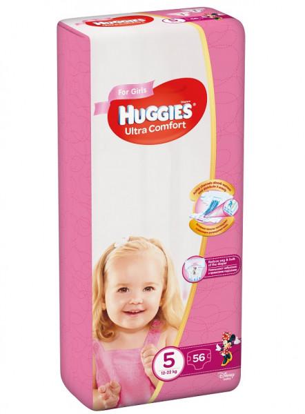 Scutece Huggies Ultra Confort Mega Pack 5, Fete, 12-22 kg, 56 buc