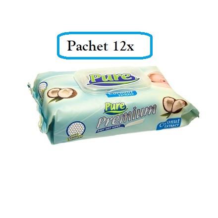 Pachet 12 x Servetele Umede PURE premium, 64buc (768 buc)