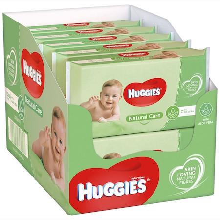 Pachet 10 x Servetele Umede HUGGIES Natural Care, 56 buc (560 buc)