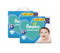 Pachet 2 x Pampers Active Baby Giant Pack - nr.4+, 70 buc (140 buc)