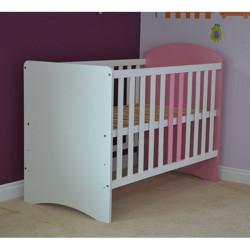 Patut copii din lemn - Anne, 120x60 cm, alb-roz