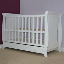 Patut copii din lemn - Mira, 120x60 cm, alb, cu sertar
