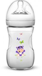 Philips-Avent Biberon Natural 260 ml, Tetină cu debit lent ce imita forma sanului mamei, décor delfini, décor hipopotam