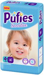 Scutece Pufies Sensitive, Nr. 4+ maxi+, Giant Pack 68 buc