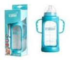 Biberon 6-9 luni din Sticla 280 ml Gat Larg cu Protectie Plastic U-GROW A-1011