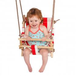 Leagan pentru copii cu scaun din panza, alb-rosu