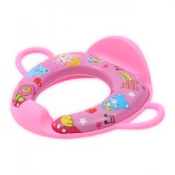 Reductor moale pentru toaleta, cu manere si spatar, Lorelli, Pink Heart