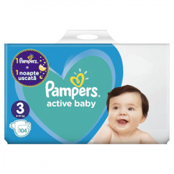 Scutece Pampers Active Baby 3, 6-10kg, Giant Pack+ 104 buc