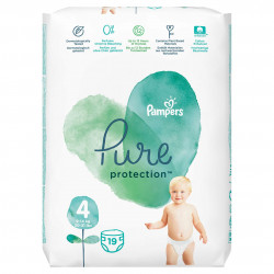 Scutece Pampers Pure, Nr.4, 9-14kg, Carry Pack, 19 buc