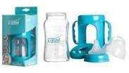 Biberon 3-6 luni din Sticla 200 ml Gat Larg cu Protectie Plastic U-GROW A-1010