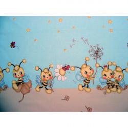 Lenjerie patut - Albinute, 4 piese, albastru