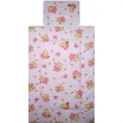 Lenjerie patut Hubners Ursulet cu albinute, 5 piese, roz