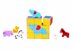 Puzzle cuburi lemn animale in miniatura
