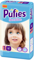 Scutece Pufies Sensitive, Nr. 5 Junior, Giant Pack 62 buc