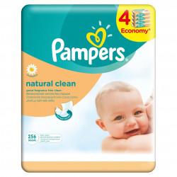 Servetele umede Pampers Natural Clean quattro pack 256 buc