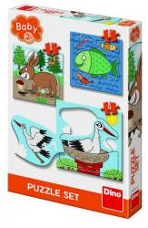 Baby Puzzle - Unde locuiesc animalele? - set 3 puzzle