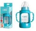 Biberon 0-3 luni din Sticla 120 ml Gat Larg cu Protectie Plastic U-GROW A-1009