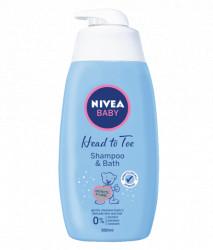 Nivea Baby Head to Toe, sampon si spumant de baie, 750 ml