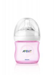 Philips-Avent Biberon Natural 125 ml, Tetină ce imita forma sanului mamei, cu debit pentru nou-născut, culoare:roz