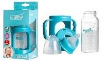Biberon 0-3 luni din Sticla Gat Normal cu Protectie Plastic 120 ml U-GROW A-1007