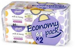 Happy Servetele umede Milk&Honey duo pack 64 x 2