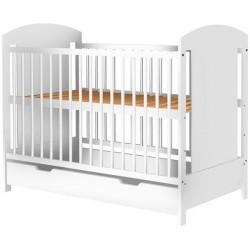 Patut copii din lemn - Kamilla, 120x60 cm, alb, cu sertar