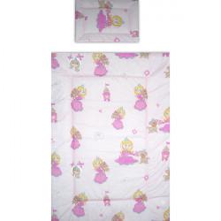 Lenjerie patut - Printesa cu Ursulet, 4 piese, roz