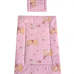 Lenjerie patut - Ursulet cu Iepuras, 4 piese, roz