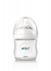 Philips-Avent Biberon Natural 125 ml, Tetină ce imita forma sanului mamei, cu debit pentru nou-născut