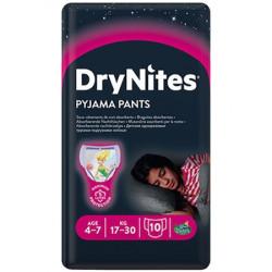 Scutece-chilotel pentru noapte Huggies DryNites 4-7 ani, Fete, 17-30 kg, 10 buc