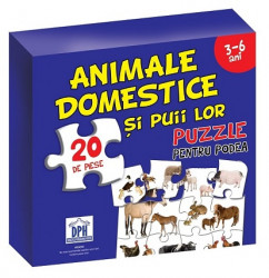 Animale domestice si puii lor ( puzzle podea 50/70 + afis 50/70 )