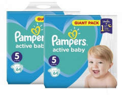 Pachet 2xPampers Active Baby Giant Pack - nr.5 , 64 buc (128 buc)