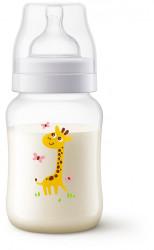 Philips-Avent Biberon anti-colic 260ml, Tetina cu debit lent, 1 luna+, décorat girafa