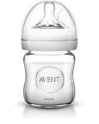 Philips-Avent Biberon din sticlă Natural 120 ml, Tetină ce imita forma sanului mamei, cu debit pentru nou-născut, sticla borosicilica