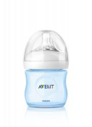 Philips-Avent Biberon Natural 125 ml, Tetină ce imita forma sanului mamei, cu debit pentru nou-născut, culoare: albastru