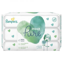 Servetele umede Pampers Aqua Pure, 3 pachete x 48, 144 buc
