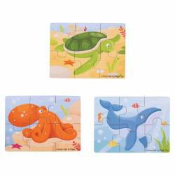 Set 3 puzzle din lemn - Lumea acvatica - BigJigs