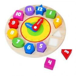 Ceas puzzle din lemn,cifre in forme diferite