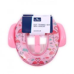 Reductor moale pentru toaleta, cu manere, Lorelli, Pink Flamingo