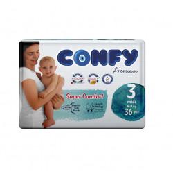 Scutece Confy Premium, Nr.3, Midi, 4-9 kg, 36 Buc