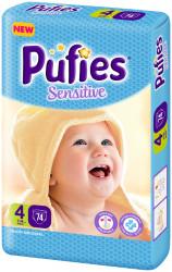 Scutece Pufies Sensitive, Nr. 4 maxi, Giant Pack 74 buc