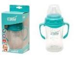 Biberon 3-6 luni din Sticla 180 ml Gat Larg cu Protectie Plastic Moale U-GROW A-1077