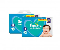 Pachet 2 x Pampers Active Baby Giant Pack - nr.3 , 90 buc (180 buc)