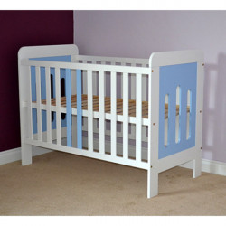 Patut copii din lemn Sophie, 120x60 cm, alb-albastru